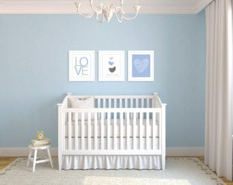 Baby Nursery Digital Print Set - Simple Modern Decor - Blue - Birds Love Heart - Pastel Colors