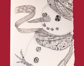 Christmas Cards, Set of 6 - Zentangle Inspired