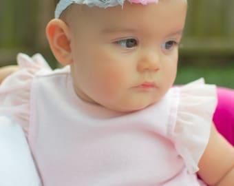 Pink and gray baby headband, baby hair bow, newborn photo prop, newborn headband, pink gray baby headband, pink grey infant headband