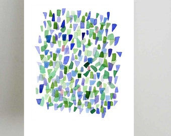 Sea glass watercolor print Abstract Watercolor painting blue green white beach glass