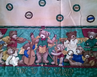 Christmas Border Print Fabric, Teddy Bear Angels Band, Joy to the World  X0326 By the Yard