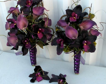 4 piece Wedding Bouquet set Calla lily plum purple orchid Bridal bouquets boutonnieres