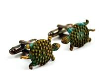 Turtle Cufflinks, Steampunk Cuff Links, Green, Whimsical cufflinks, Verdigris Turtles