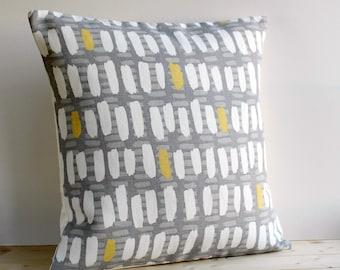 Geometric Pillow Cover 18x18 Inch Modern Cushion Cover 18 Inch Pillow Sham - Brushstrokes Ochre