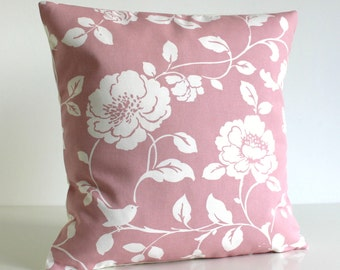 Shabby Chic, Pillow Cover, Throw Pillow, Accent Pillow Cover, 16 Inch Cushion Cover, 16x16 Pillow Sham, Pillow Case - Climbing Rose Pink