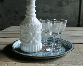 Vintage Milk Glass Decanter