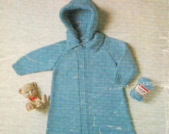 Vintage Knitting Pattern - Babies Sleeping Sack with a Button On Hood by Lincoln