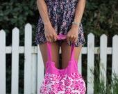Handbag - handmade purse cotton bag pink flourish handmade valentine's day for her