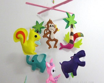 """Baby Mobile - Nursery Mobile - """"Six Happy Friends in the Jungle """" Mobile - Crib Mobile (Custom Color Available)"""