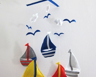 "Baby Mobile - Sailboats Crib Mobile - Handmade Nursery Mobile - ""Sea Dream"" (Match your bedding)"