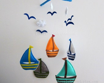 "Baby Mobile - Sailboats Crib Mobile - Handmade Nursery Mobile - ""Five Little Sailboats "" (Match your bedding)"