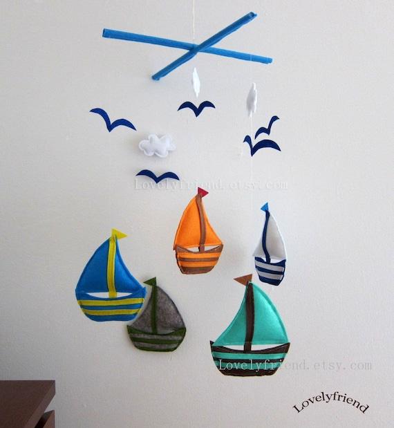 "Baby Mobile - Sailboats Crib Mobile - Handmade Nursery Mobile - ""Five Little Sailboats "" (Match your bedding)"