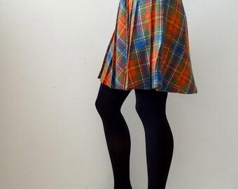 1960s pleated a-line skirt - plaid mini skirt - vintage preppy fall fashion