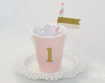 Pink Paper Party Cup with Gold Glitter Number or Monogram - 9 oz cups - Set of 12