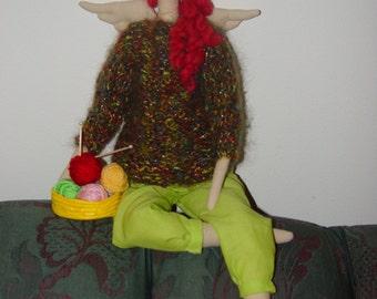 "Tilda Doll Knitting Angel, Cloth iNTERIOR DOLL 23"" in moonlight Mohair sweater"