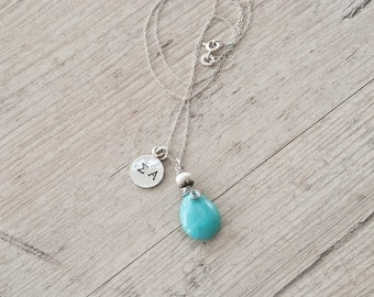 Personalized Initial Necklace, Sterling Silver Stamped Necklace, Turquoise Charm Necklace, Greek Letter Initials, Dainty Monogram Necklace