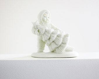 Xmas Dept 56 Snowbabies Vintage Figurine, I'll Put Up The Tree 1991, Angel With Christmas Tree, Holiday Home Decorating, Christmas Gift Idea