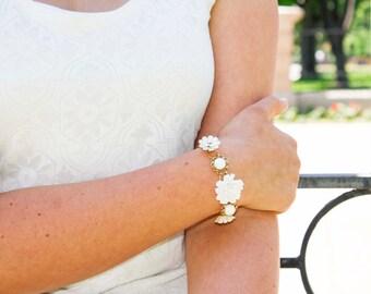 Darling White Vintage Flower and Gold Bracelet - Rhinestones, Multi Strand