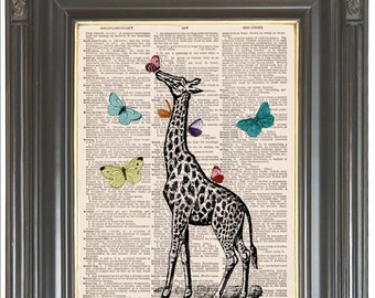 Giraffe print Butterfly art SALE on vintage Dictionary art print Wall decor Sheet music print Digital art print Nursery art Item No 238