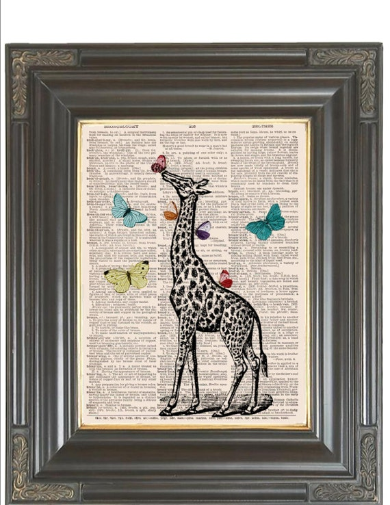 Giraffe print Butterfly art SALE on vintage Dictionary art print Wall decor Sheet music print Digital art print Nursery art Item No 238