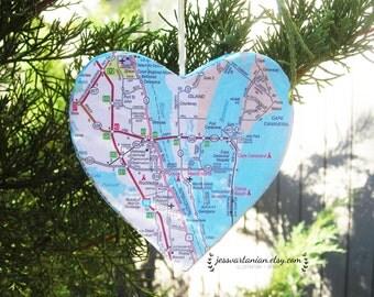 Custom Map Heart Ornament. Any Location.