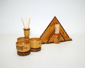 Napkin Holder and  Condiment Set, Picnic Table Set, Toothpick Holders