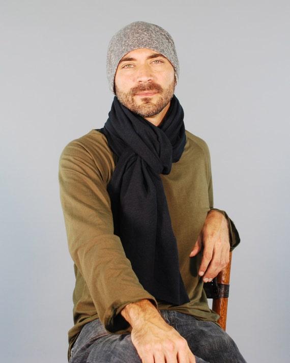 Slouchy Hat for Men - Beanie - Unisex - Heather Gray- Organic Cotton Hemp - Eco Friendly - Organic Clothing