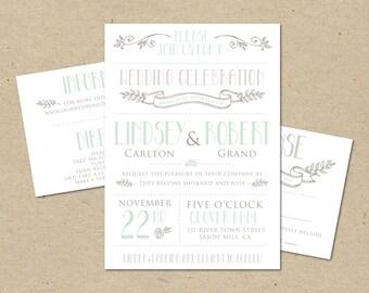 "Wedding Invitation and RSVP Template -Printable DIY. Modern vintage, mint, pink, rustic wedding modern ""Lindsey and Robert"" (1007)"