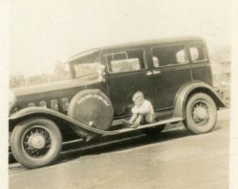 "Vintage Photo ""Sad Traveler"" Sitting Classic Car Snapshot Photo Old Antique Photo Black & White Photograph Found Photo Paper Ephemera - 131"