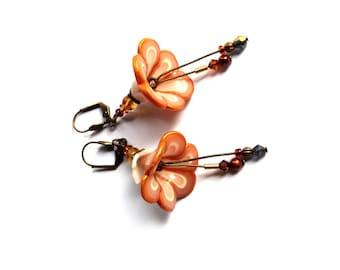 Gold Beige Ecru Flower Earrings - long christmas earrings -  NKFree leverback  - artisan jewelry made in France - handmade in polymer clay