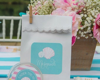 Mermaids & Mommies Party Collection: Printable Stickers or Tags
