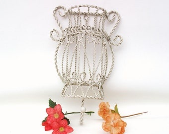 Vintage Twisted Wire Wall Pocket with Hanger / Metal Basket Wall Hook / White Hanging Planter