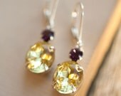 Citrine Yellow Vintage Estate Style Crystal Earrings With Plum Purple Amethyst Accent, Gifts under 30 40