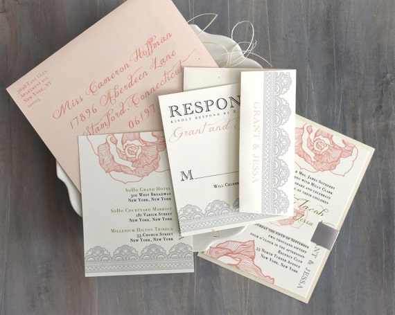 lace wedding invitation blush peach pink wedding,