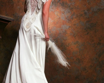 SALE HUGE DISCOUNT! Buy White Peacock Gown, Designer Backless Wedding Dress or Evening Gown