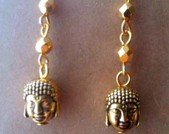 Double Sided Gold Buddha Earrings, spiritual Buddhist earrings