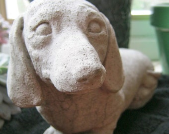 Dachshund Statue,Toy Dog Concrete Figure, Cement Garden Decor, Doxie Statues, Pet Memorial