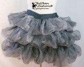Burlesque Silver Tulle Puff Skirt