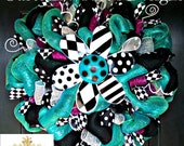 Black and White Flower Summer Turquoise Wreath