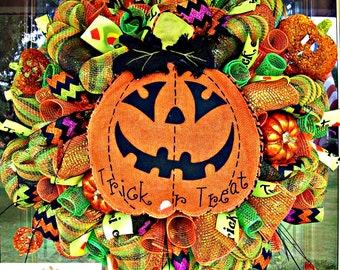 Halloween  Burlap Pumpkin Wreath