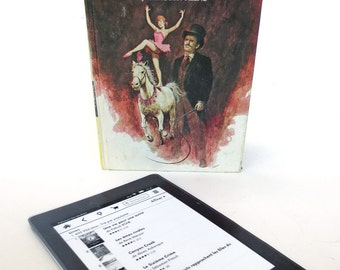 Nancy Drew Joins the Circus, Upcycled Tablet Case with Horse, Geometric Print Lining [Fits *Kindle Fire, Paperwhite, *Galaxy Tab, * Nexus 7]