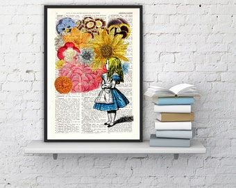 Alice in wonderland with Flowers - alice in wonderland,Alice in Wonderland Collage Print on Vintage Dictionary Book art BPAW025b