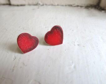 Heart Women's Post Earrings Red Hearts Stud Love Gift Friend Simple Jewellery Ruby Pretty Image Girlfriend Wife
