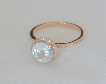 1.91 carat white sapphire, Rose gold, diamonds halo engagement ring  JOAN-812W