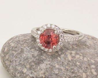 Apricot Spinel 1.5cts in 14k White Gold Diamond Halo, Gemstone Ring