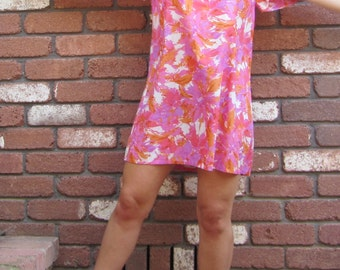 Sweet Pink and Orange Butterfly Sleeve 70s Beach Dress