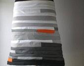Black-white-orange cotton skirt