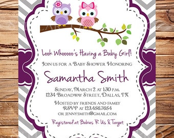 Owl Baby Shower Invitation, Baby Shower Invite, Boy, Girl, Blue, Blue, Pink, Chevron Stripes, Yellow, Green, Yellow, 1439