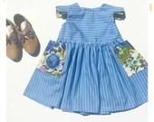 Girls Sleeveless Dress Blue Stripe Dress with Floral Pockets Vintage Fabric Dress Handmade Girls Dress Spring Summer Pocket Dress Baby Dress