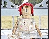 "Primitive Grungy Olde Thyme Raggedy Annie Doll  Worn Torn Rag Doll ""Meg"" Vintage Hankie FosterChild Whimsy"